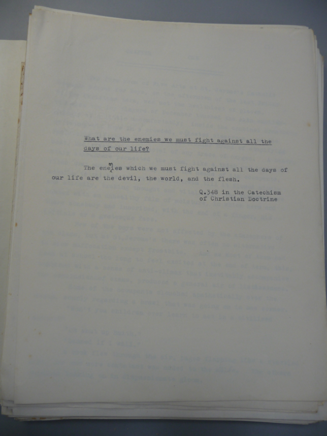 The David Lodge Papers The Devil, the World and the Flesh Typescript's epigraph