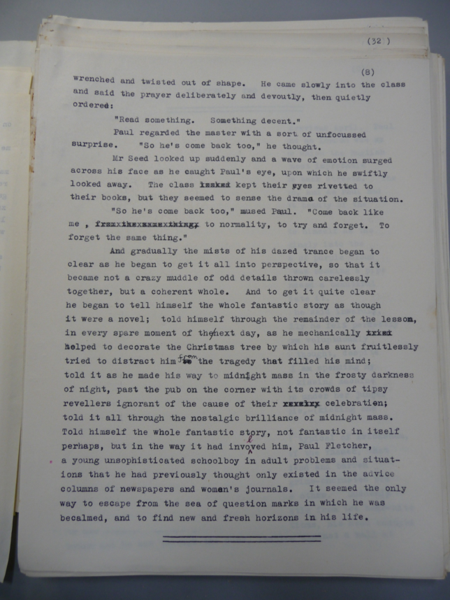 The David Lodge Papers. Box 25 The Devil, the World and the Flesh Typescript, p. 8 With permission of the author